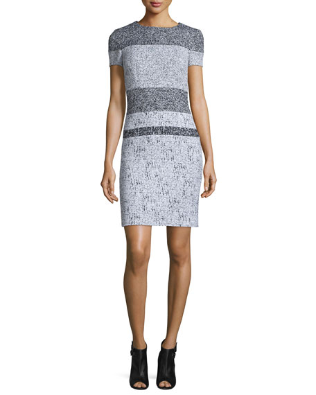 Carolina Herrera Short-Sleeve Striped-Tweed Sheath Dress, Black/White