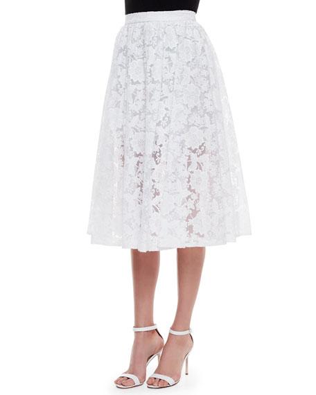 Erin Fetherston Midi Lace Skirt, White