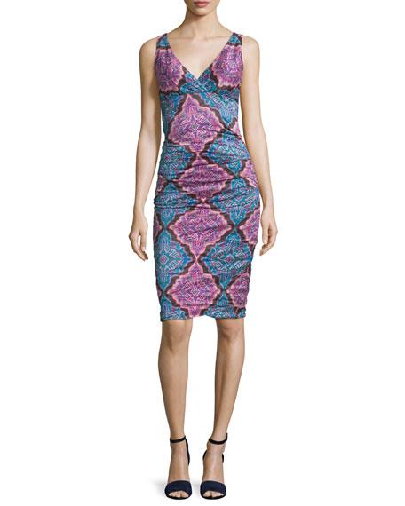 Nicole Miller Sleeveless V-Neck Printed Sheath Dress