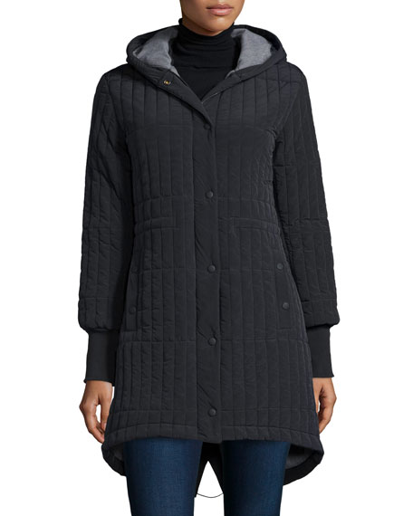 Eclipse Loop-Button Hooded Parka, Caviar