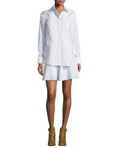 Long-Sleeve Striped Ruffle Shirtdress