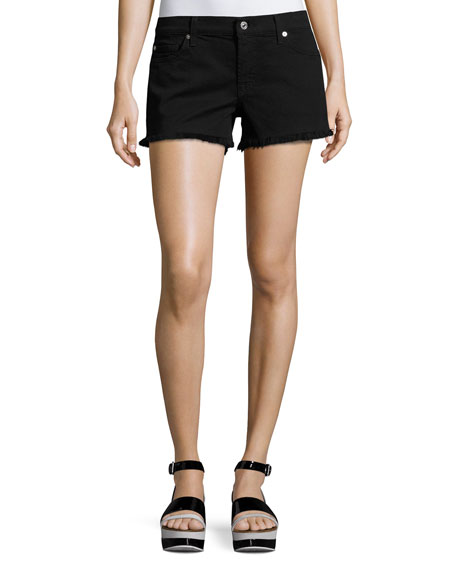 7 for all mankind Cutoff Denim Shorts, Black
