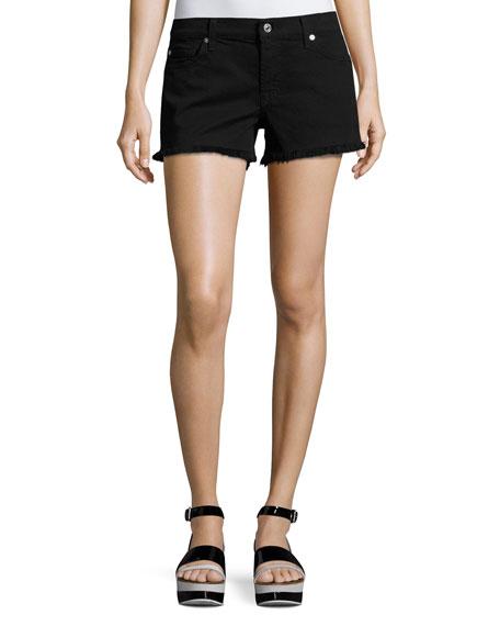 Cutoff Denim Shorts, Black