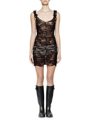 Sleeveless Metallic-Lace Ruched Dress, Black