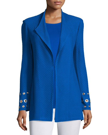 Long Knit Jacket with Grommet Detail, Plus Size