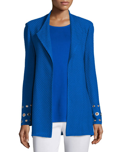 Long Woven Jacket with Grommet Detail, Long Knit Tank Top & Slim Ankle Pants, Plus Size