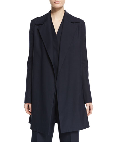 Rallan Open-Front Long Jacket, Pitch Blue