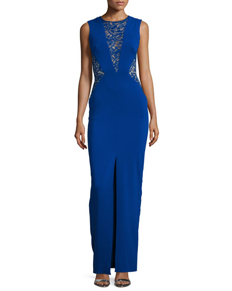 Nicole Miller Lace-Inset Column Gown, Royal Navy