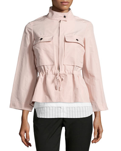 Drawstring-Waist Sporty Jacket, Rose