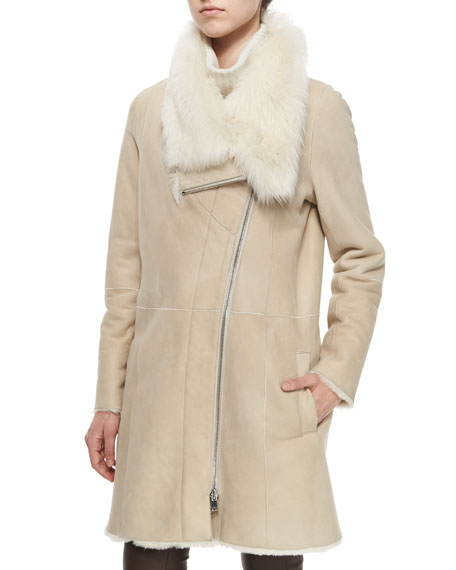 Asymmetric Shearling Fur Coat, Creme