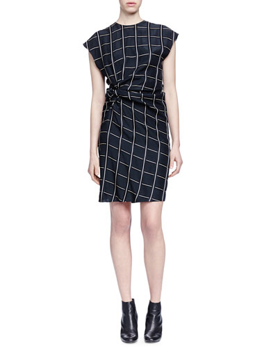 Square-Print Side-Ruched Dress