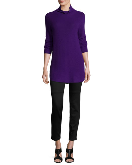 Eileen Fisher Long-Sleeve Ribbed Turtleneck Tunic