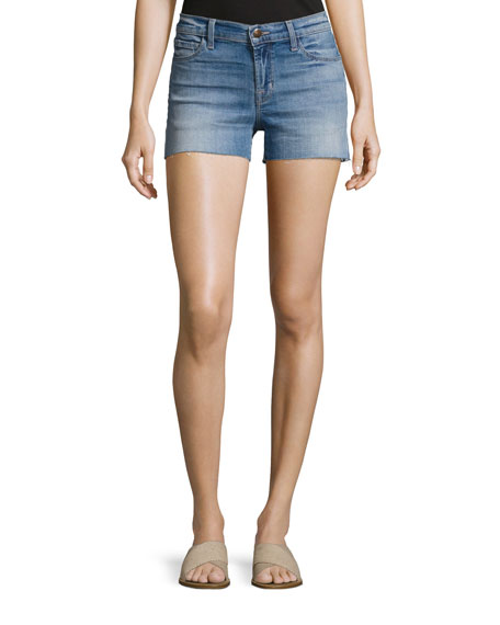 J Brand 1044 Mid-Rise Denim Cutoff Shorts, Light