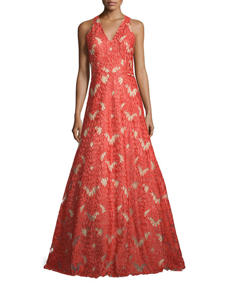 David Meister Sleeveless V-Neck Lace Gown, Red