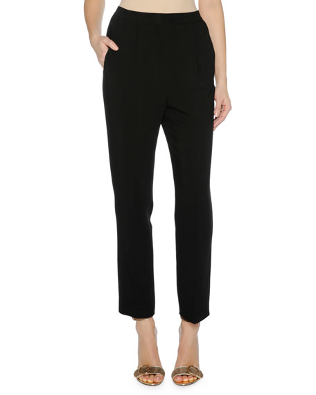 Agnona Cropped Cady Stretch Pants, Black and Matching