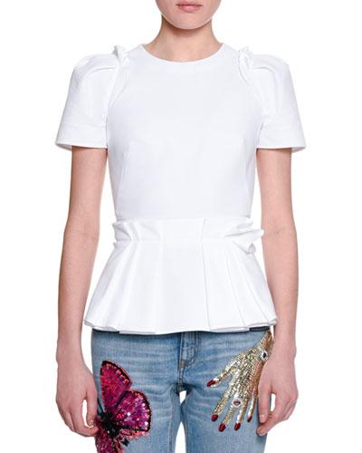 Short-Sleeve Pique Cotton Peplum Top, White