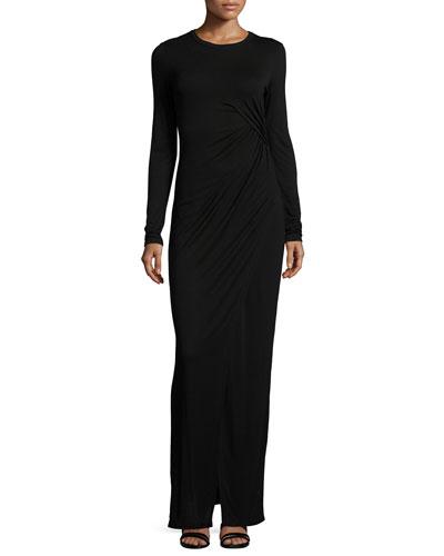 Vincent Long-Sleeve Maxi Dress, Black