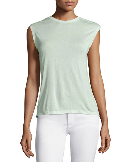 Sleeveless Draped-Back Top, Pistachio