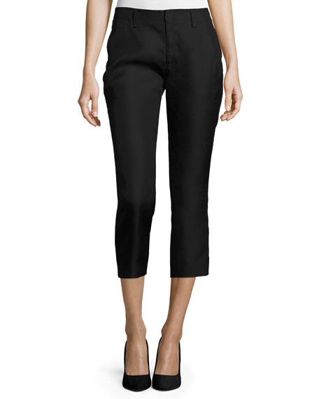 Flat-Front Cropped Cigarette Pants, Black