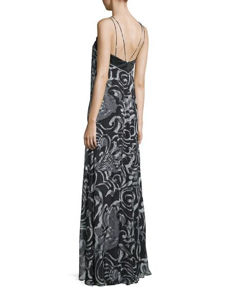 Halter-Neck Scroll-Print Column Gown, Black/White