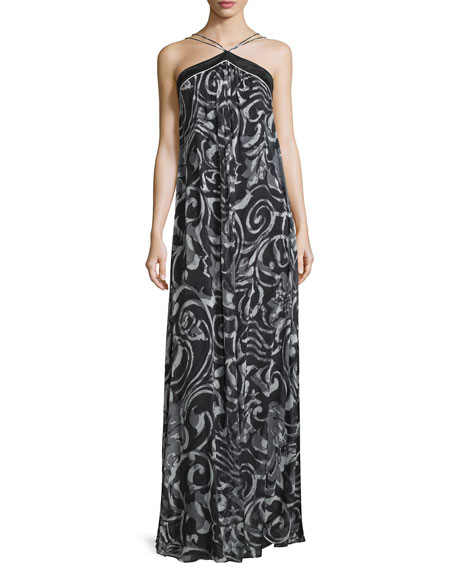 Halter-Neck Scroll-Print Column Gown, Black/White