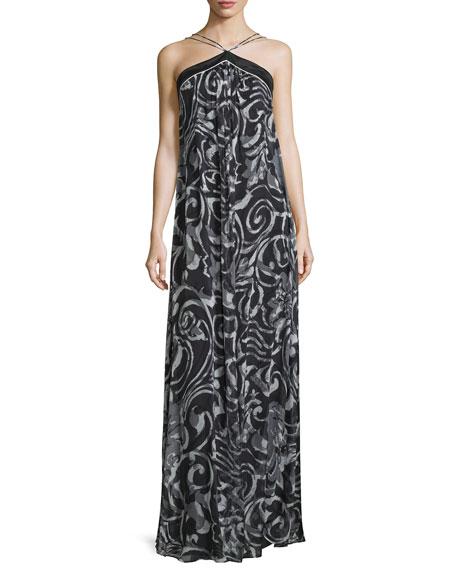 Theia Halter-Neck Scroll-Print Column Gown, Black/White