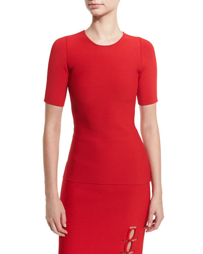 Laced-Back Short-Sleeve Sweater, Vermillion