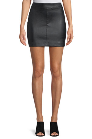 Helmut Lang Straight Leather Mini Skirt