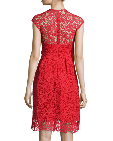 Cap-Sleeve Jewel-Neck Lace Dress, Red