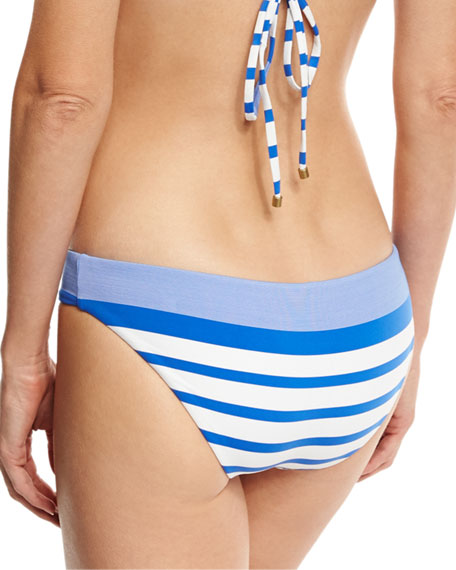 Luciana Striped Hipster Swim Bottom, Blue
