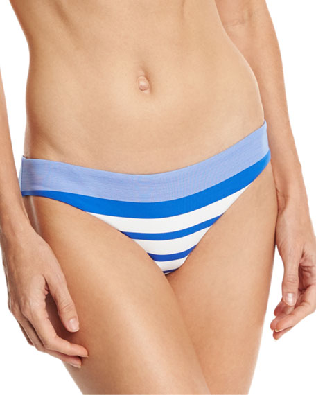 Luciana Striped Hipster Swim Bottom, Blue