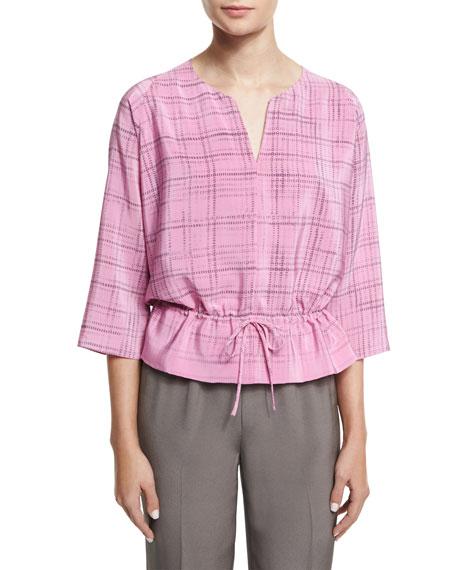 3/4-Sleeve Drawstring-Waist Printed Top, Pink