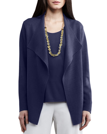 Eileen Fisher Open Interlock Jacket, Navy, Plus Size