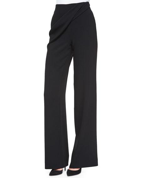 Talbot Runhof Gido Crepe Drape-Detail Pants, Black