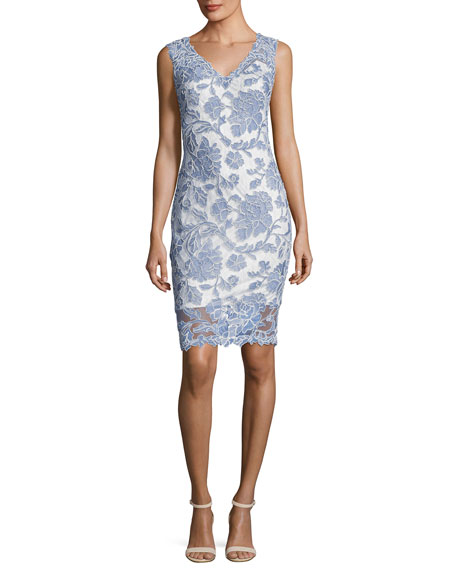 Tadashi Shoji Sleeveless Lace Cocktail Dress, Blue Stone