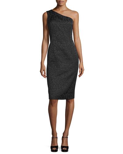 One-Shoulder Embossed Sheath Dress, Black