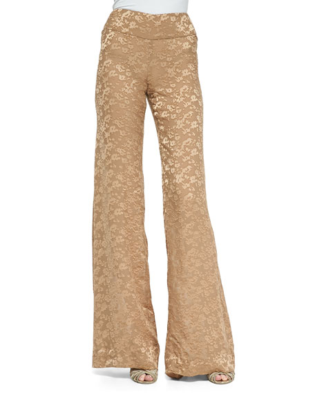 Donna Karan Devore High-Waist Wide-Leg Pants