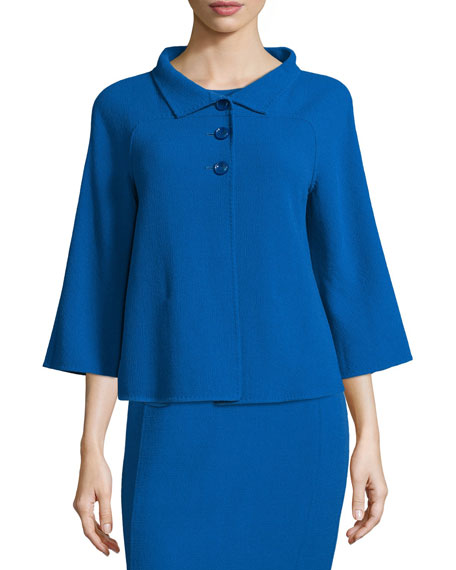 Armani Collezioni 3/4-Sleeve Three-Button Jacket, Cornflower