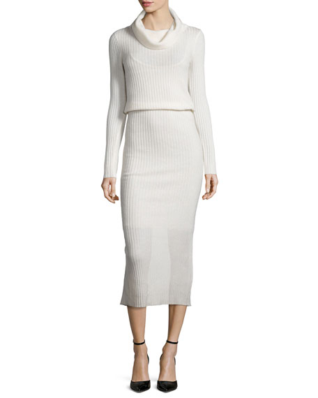 Alice + Olivia Hailee Ribbed Cowl-Neck Sweaterdress, Cream