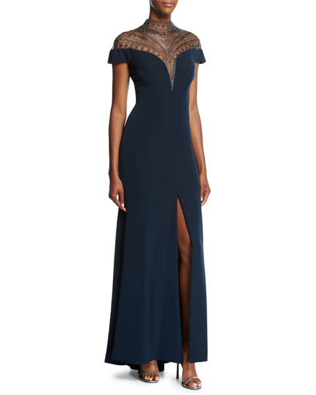 Cap-Sleeve Embellished Illusion Gown, Navy
