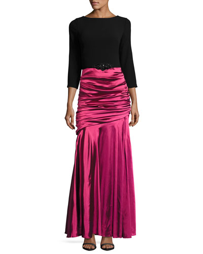 Ruched-Skirt Jewel-Embellished Gown, Black/Magenta