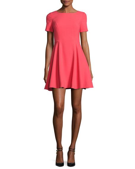 Short-Sleeve Wide Crewneck Fit-&-Flare Dress