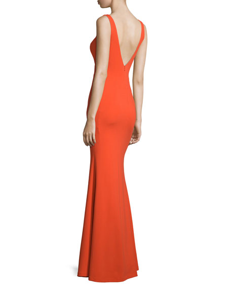Sleeveless Column Gown W/Cutouts, Bright Orange