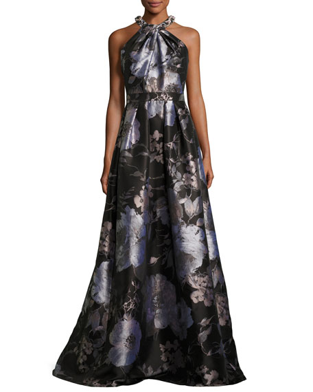 Sleeveless Floral Satin Ball Gown, Black/Silver