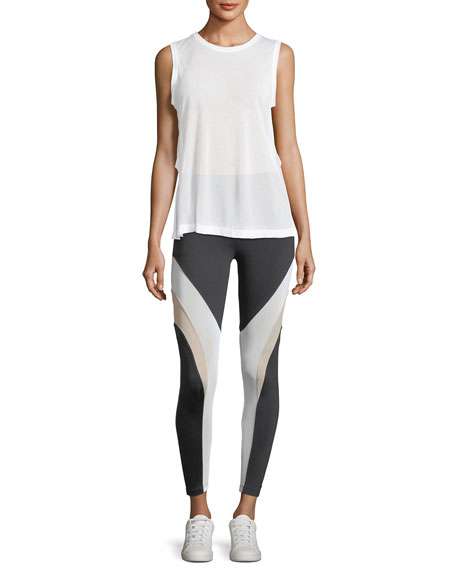 Frame High-Rise Mesh Panels Ankle Leggings