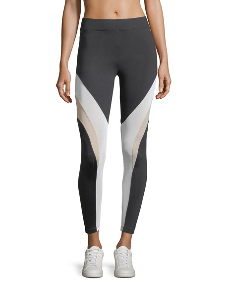 Frame High-Rise Mesh Panels Ankle Leggings