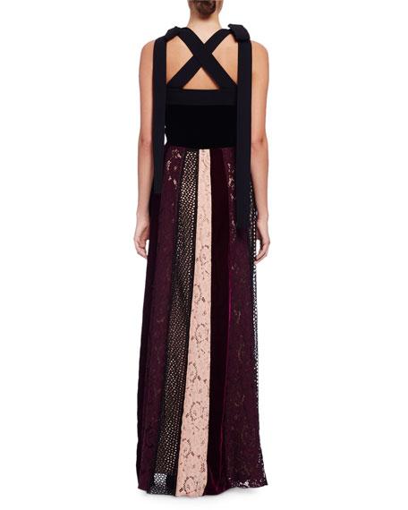 Sleeveless Velvet Combo Gown w/Paneled Lace Skirt