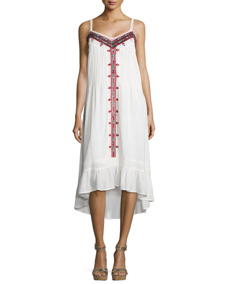 Cynthia Vincent Western Embroidered Cotton Voile Dress