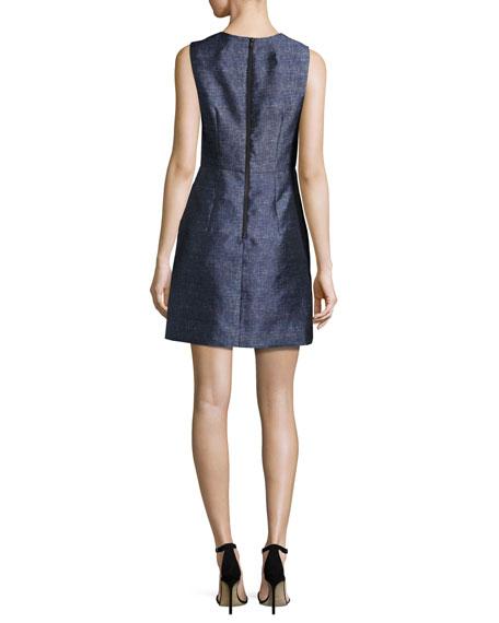 Coco Sleeveless Denim-Print Twill Dress