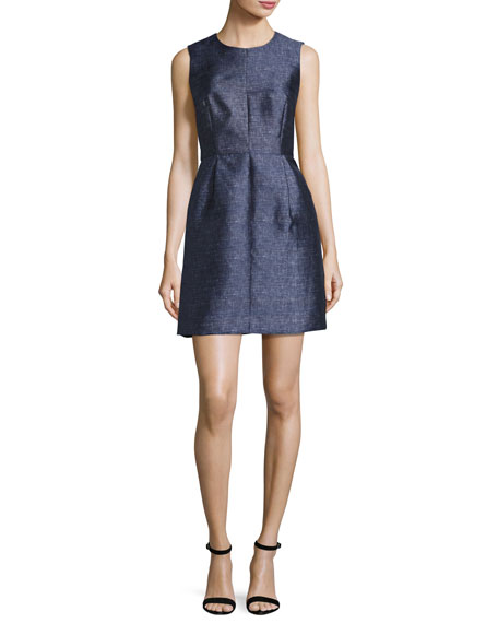 Milly Coco Sleeveless Denim-Print Twill Dress